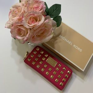 Michael Kors Pink Gold Credit Cards Zipper Wallet
